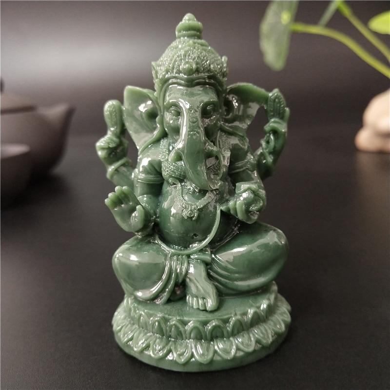 Статуя лорда Ганеши Будда Бог слон скульптура Фигурка Искусственный нефрит камень украшения Ремесло дома садовый цветочный горшок украшения|Статуи и скульптуры|   | АлиЭкспресс