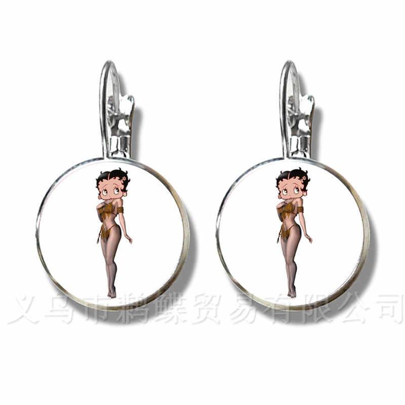 2018 החדש בטי בופ עגילי Harajuku חמוד קריקטורה תמונה Stud עגילי תכשיטי זכוכית קרושון עגילי תכשיטים מתנות