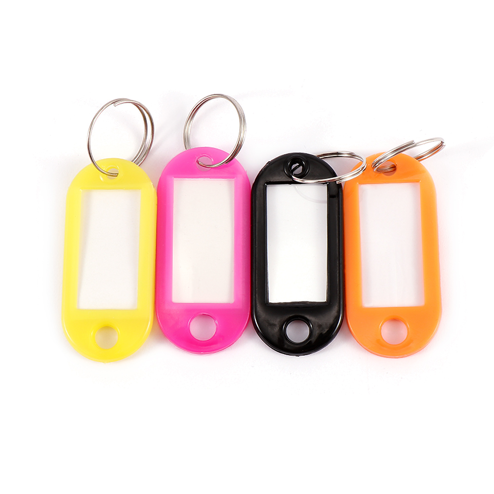 10 pcs Durable Key Chain ID Label Colorful Plastic Key Fobs Fashion Luggage Baggage ID Tags Labels Key Ring with Name Cards Gift