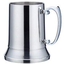 ABUI-450Ml двухслойная 304 нержавеющая сталь Пивная кружка для коктейля чашка с изображением пламени креативная ручка кофейная чашка для завтрака молочная чашка с Handl