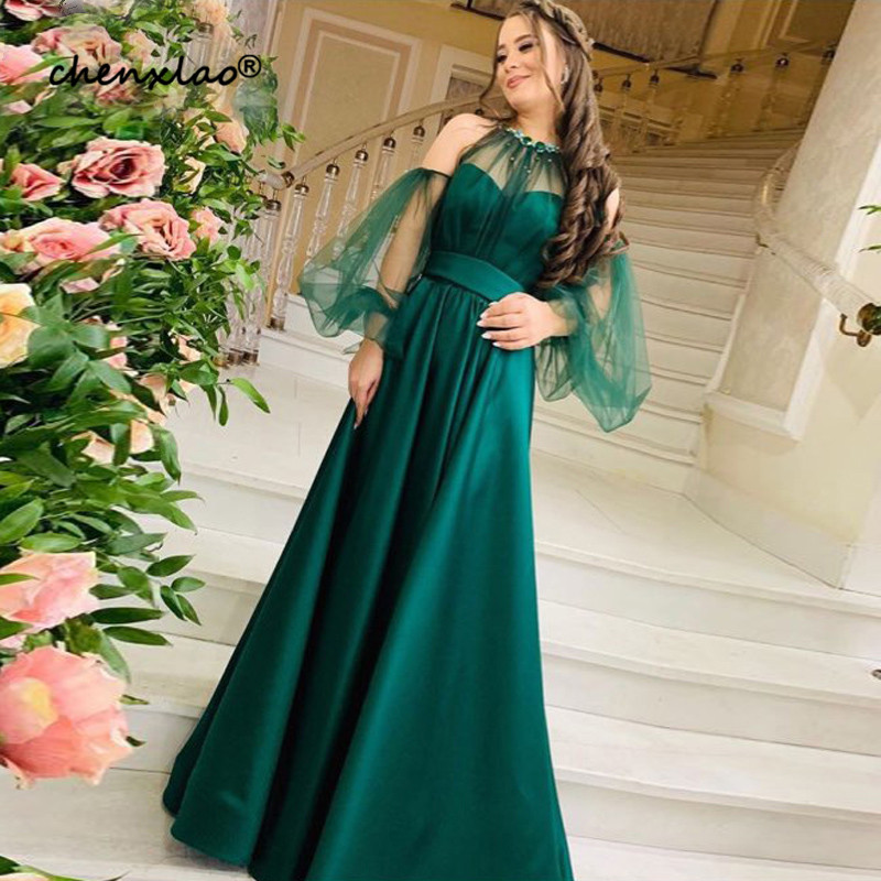 Dark Green Long Evening Prom Dresses 2019 New Hunter A Line Women Formal Dress Puffy Tulle Long Sleeves Vintage Party Gowns - 2