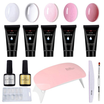 12pcs Gel Nail Polish Set With Led Lamp Dryer Semi Permanant Uv Gel Kit Extension Gel Nail Art Tool Manicure Set Polygel Nail