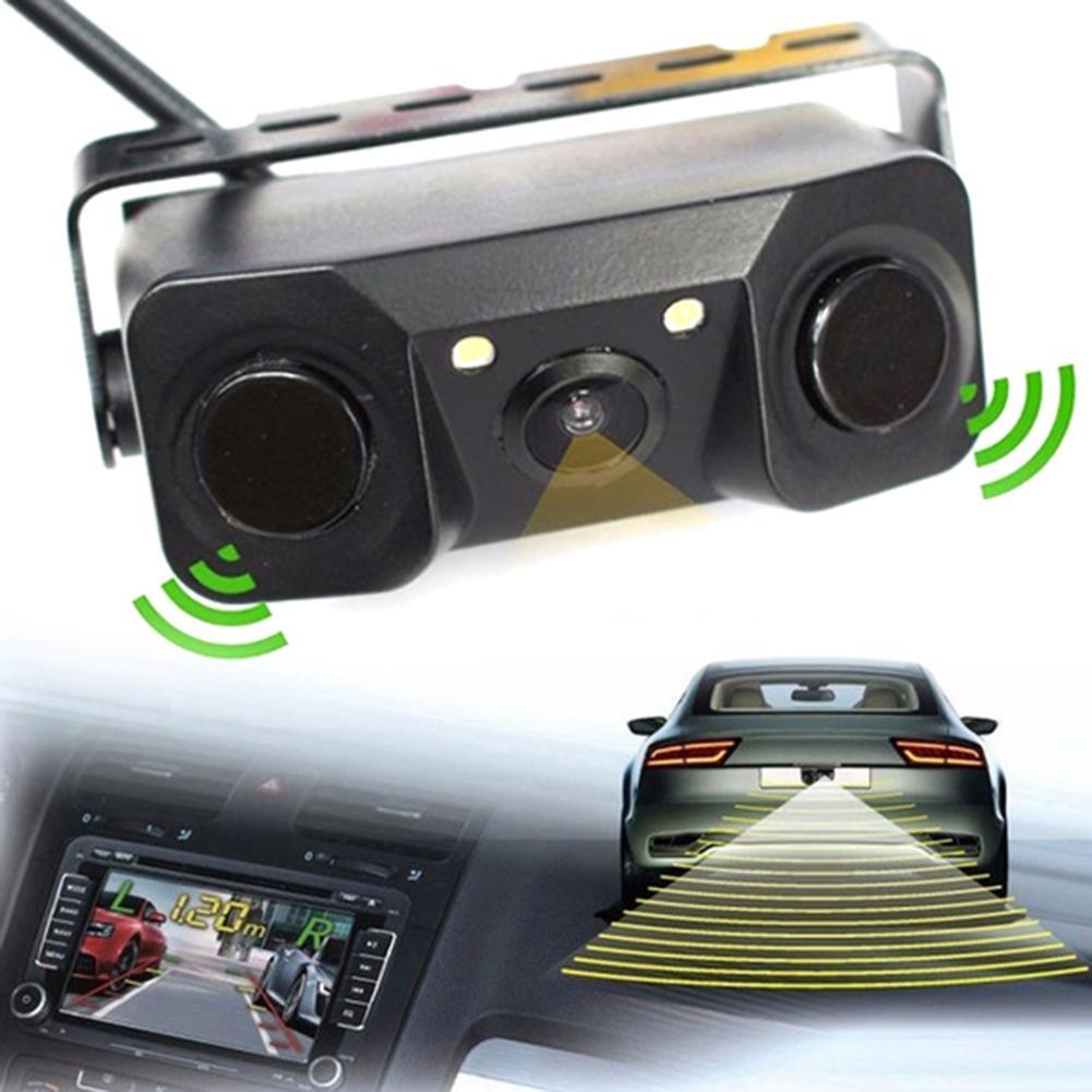 Multifunctional Car Vehicle Camera 3 In 1 Car Rear View Reverse Parking Sensor Detector Buzzer Alarm Camera