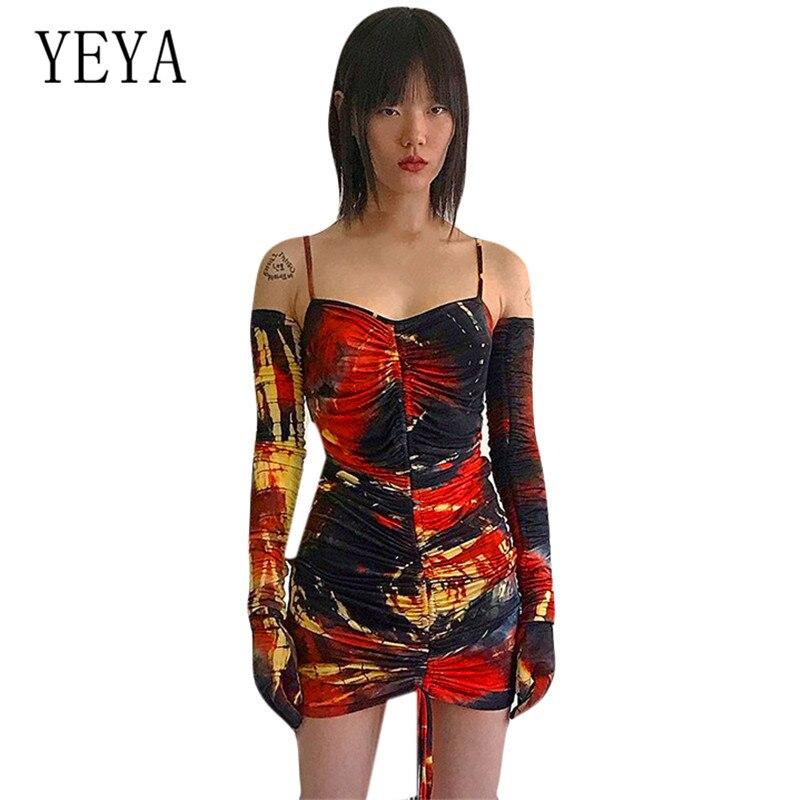 YEYA Personal Tie Dyed Long Sleeve Mini Dress Sexy Spaghetti Strap Sleeveless Hollow Out Vintage Elegant Women Wear
