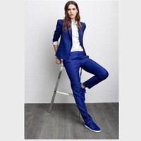 Womens Formal Pantsuits Custom Made Royal Blue Women Ladies Fashion Office Business Tuxedos Jacket+Pants Business Pant Suits