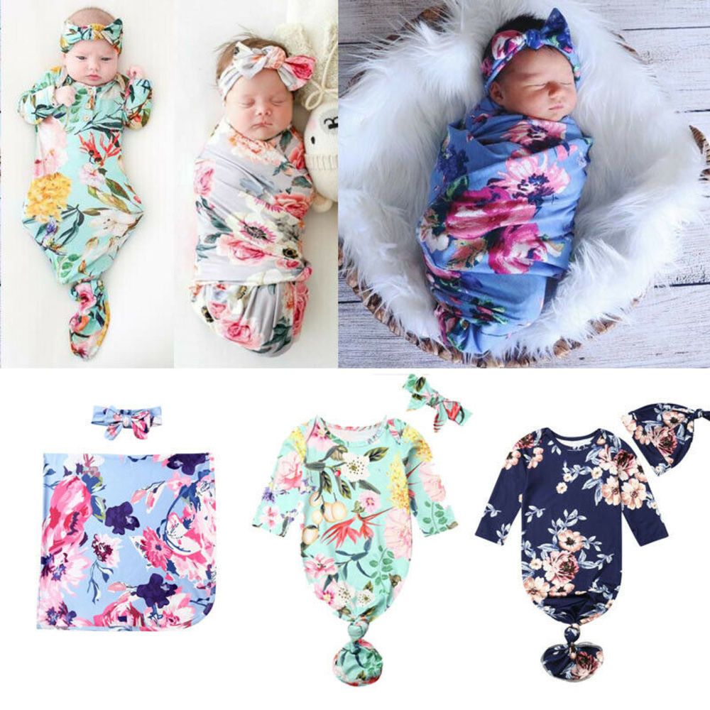 Newborn Baby New to The Crew Long Sleeve Nightgown Swaddle Coming Home Outfit 0-6 Months