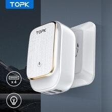 """TOPK 4 נמל האיחוד האירופי/ארה""""ב/בריטניה/AU תקע 22W USB מטען LED מנורת אוטומטי מזהה נסיעות קיר מתאם אוניברסלי טלפון נייד מטען"""