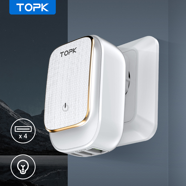 TOPK 4 Port EU/US/UK/AU Plug 22W USB Charger LED Lamp Auto ID Travel Wall Adapter Universal Mobile Phone Charger