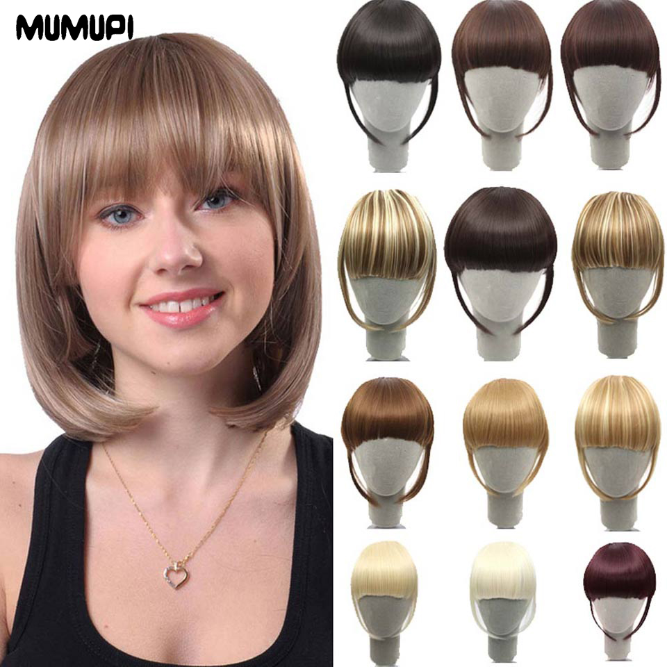 MUMUPI Short Front Neat Bangs Clip In Bang Fringe Hair  Extensions With High Temperature Synthetic Fiber Fake Fringe Hair
