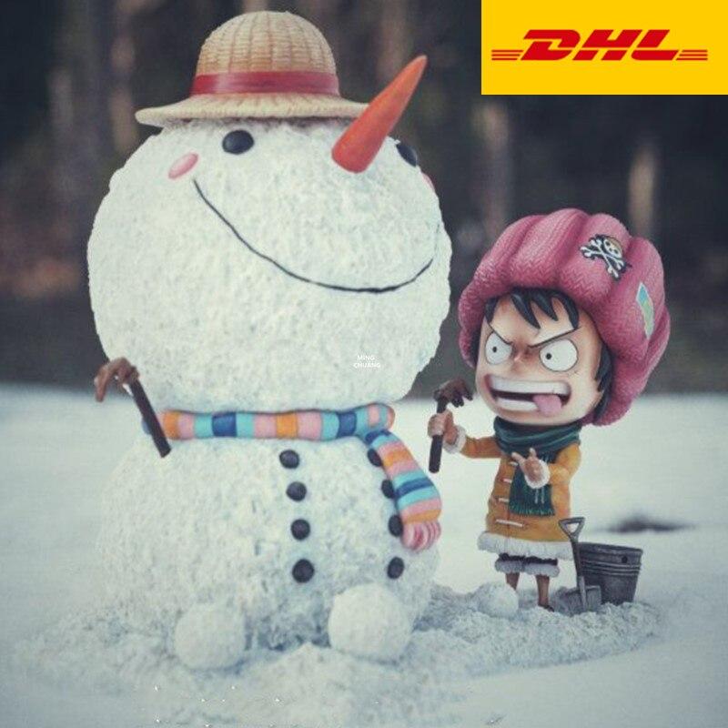 10 een Stuk Standbeeld De Straw Hat Pirates Buste Luffy Volledige Lengte Portret Sneeuwpop Scène GK Action Figure speelgoed DOOS 25CM V474
