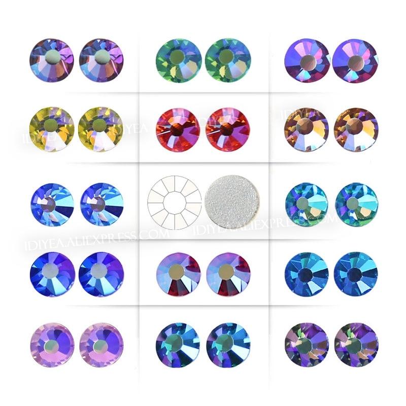 Superbe qualité inhabituelle! Multi couleurs cristal AB SS12-SS30 Non correctif strass dos plat strass ongles paillettes pierre de vêtement