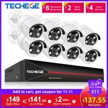 Techege H.265 8CH 1080P POE אבטחת מצלמה מערכת ערכת שתי דרך אודיו IP מצלמה חיצוני עמיד למים AI אדם זיהוי 2MP NVR סט