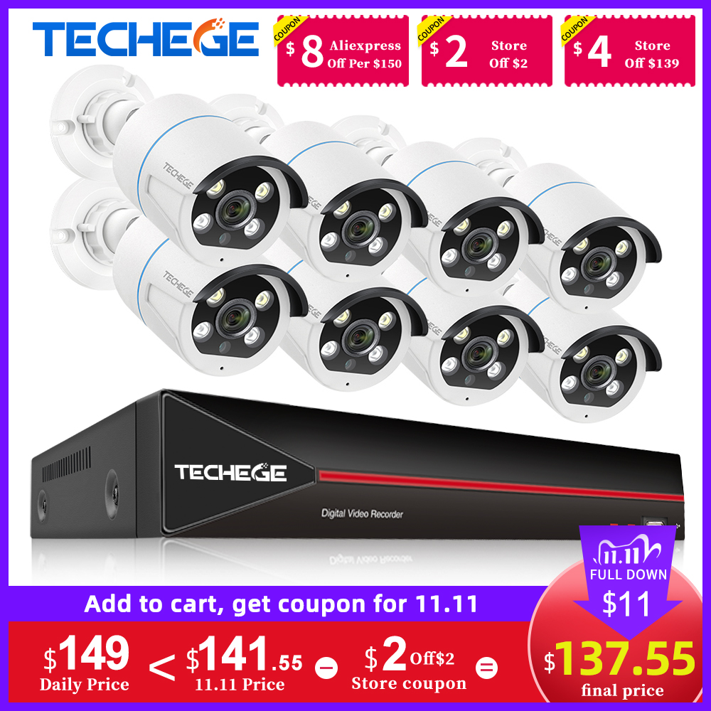 Techege H 265 8CH 1080P POE Security Camera System Kit Two way Audio IP Camera Outdoor Waterproof AI Human detection 2MP NVR Set