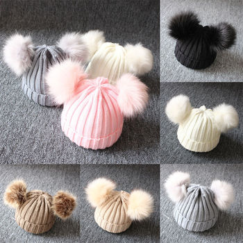 1-3 Years Winter Newborn Wool Knitted Hat Children Infant Baby Caps Kids Beanie with Two Double Pom Pom Beanie for Boys Girl fallen wharf 3 beanie