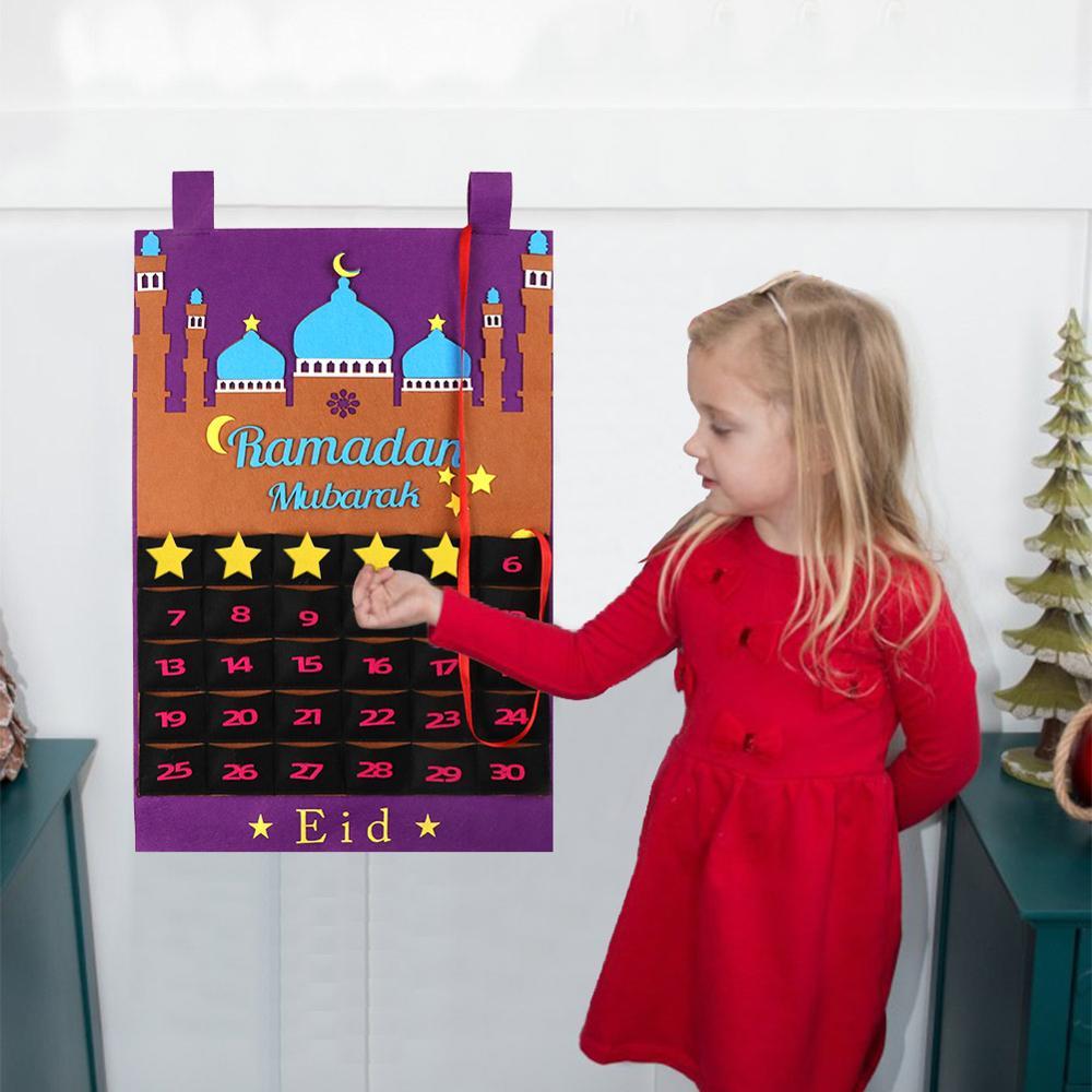 OurWarm EID Mubarak Ramadan Kareem Decorations Felt Calendar Hanging Pendants Banner Candy Box Muslim Islam Eid Party Supplies