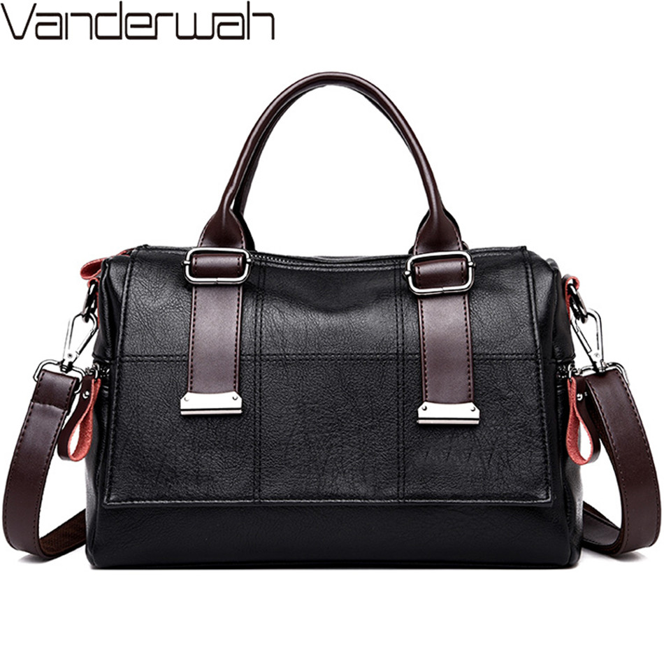 VANDERWAH Brand Ladies Hand Bag Leather Luxury Handbags Women Bags Designer Boston Crossbody Bags For Women 2018 Tote Sac A Main