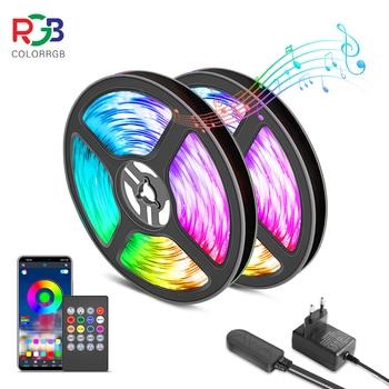 Tira de luces LED RGB 5050 de 10M y 20M, sincronización de música, Color cambiante, micrófono incorporado sensible, luces LED controladas por aplicación, luces de cuerda