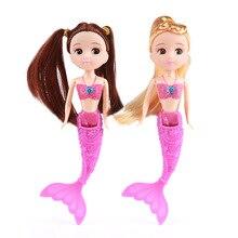 лучшая цена 18cm Cute Mermaid Princess Mini Baby Dolls Toys Kids BJD Doll DIY Toy Educational Children Bonecas For Girls Gift  Random Color
