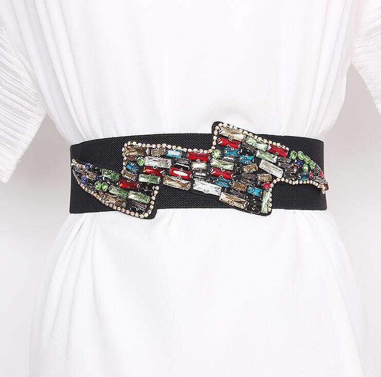 Women's Runway Fashion Rhinestone Beaded Elastic Cummerbunds Female Dress Corsets Waistband Belts Decoration Wide Belt R2972