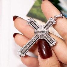 Collar de colgante de cruz de plata de ley 925 de lujo, collar de colgante de diamantes transparente pave SONA para hombres y mujeres, regalo de Navidad N019