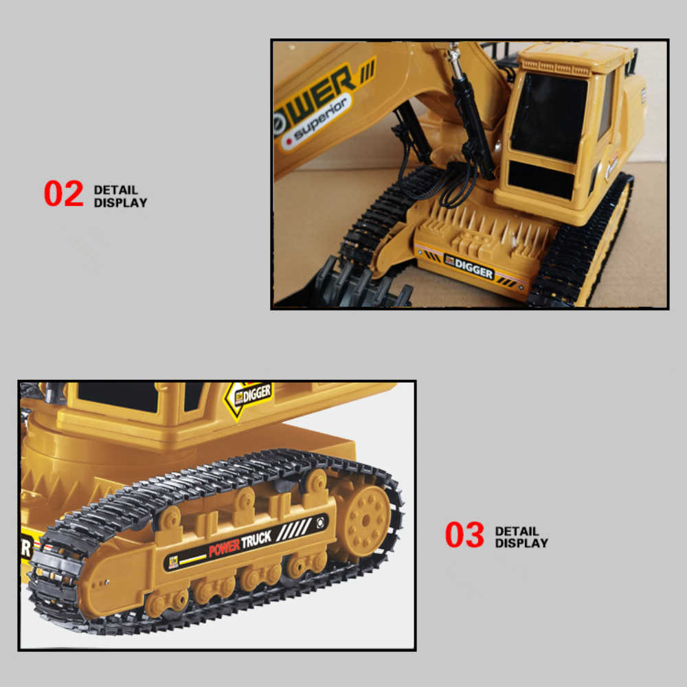 1:18 Rc Truck Rc Graafmachine Caterpillar Tractor Model Techniek Auto 2.4G Radio 680 Rotatie Graven Bodem Geluidseffecten Kids speelgoed