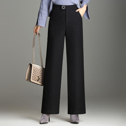 Winter Women Wool Pants High Waist Loose Casual Full Length Pants Women Slacks Comfortable Female Plus OL Pants KQL87825