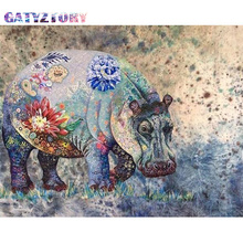 GATYZTORY Diamond Embroidery Diamond Painting Pictures Hippo Of Rhinestones Diamond Mosaic Sale Full Square Drill Art Animals gatyztory diamond embroidery dogs diamond painting pictures of rhinestones diamond mosaic sale full square drill art animals