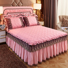 European style 3pcs lace skirted bedspread embroidery bed cover quilted luxury solid color thick quilt fleece fabric bed sheet