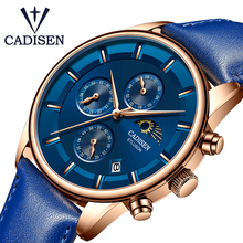 CADISEN Mens watches Top Brand luxury Military Watches Sports Quartz Wrist Watch Waterproof Leather Male Clock Reloj Hombre