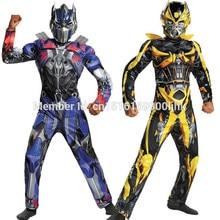 2020 Movie Superhero Optimus Prime trzmiel mięśni Cosplay kostium dzieci pełne ciało garnitury dzieci karnawał Halloween COS prezenty