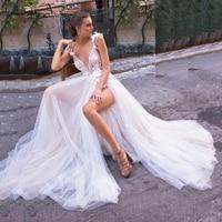Full Sexy Boho Wedding Dress Beach High Split Bridal Dress Open Back 3D Flower Beading Vestidos de Novia Playa Wedding Gown 2020