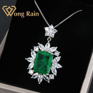 Ожерелье Wong Rain, винтажное, 100% 925 пробы, серебряное, из моиссанита, изумруд, для свадьбы, украшения оптом