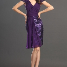 Cap Sleeves Shiny V-Neck Sequined Cocktail Dress