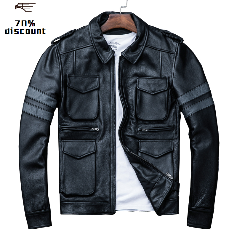 2020 Black Men Genuine Leather Jacket Plus Size XXXL Thick Cowhide Winter Russian Slim Fit Casual Leather Coat FREE SHIPPING
