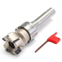 Novo 90 graus r8 fmb22 haste reta caramanchão + face end mill cortador 4 pçs apmt1604 inserções de carboneto ferramenta torneamento|Fresa| |  -