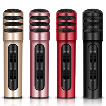 10 pcs Handheld  wired condenser microphone built-in sound card continues to sing smart compatible mobile phone karaoke micphone