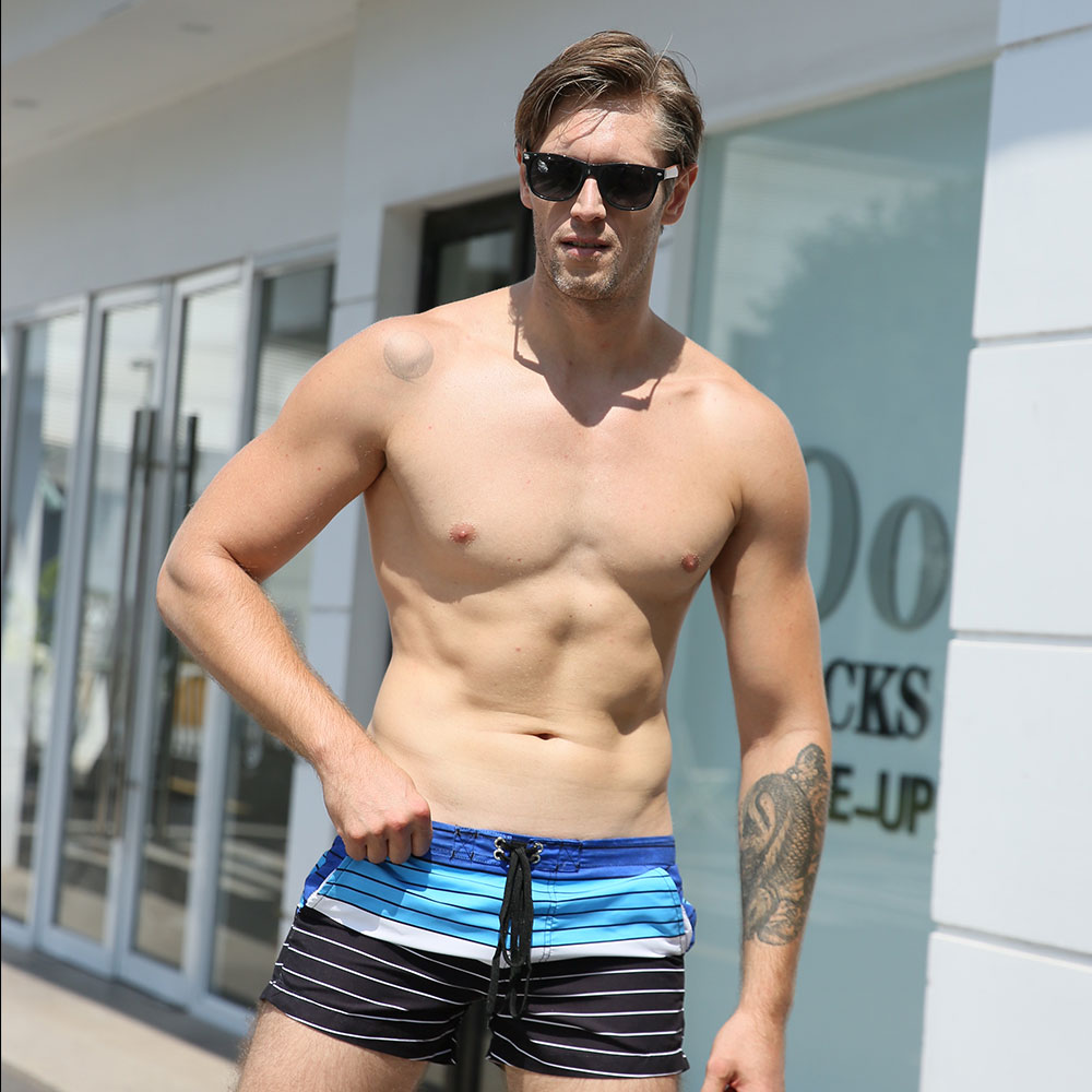 Striped Patchwork Drawstring Swimwear Shorts Men-Sports Beach Shorts Loose Casual Comfortable Fashion Male Sweatpants Pants