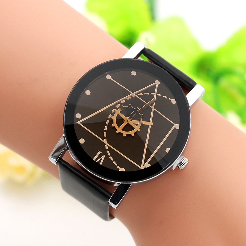 Fashion Casual Math Couple Wrist Watch High Quality PU Band Stainless Steel Case Ladies Watches Lady's Clock Relógio Feminino