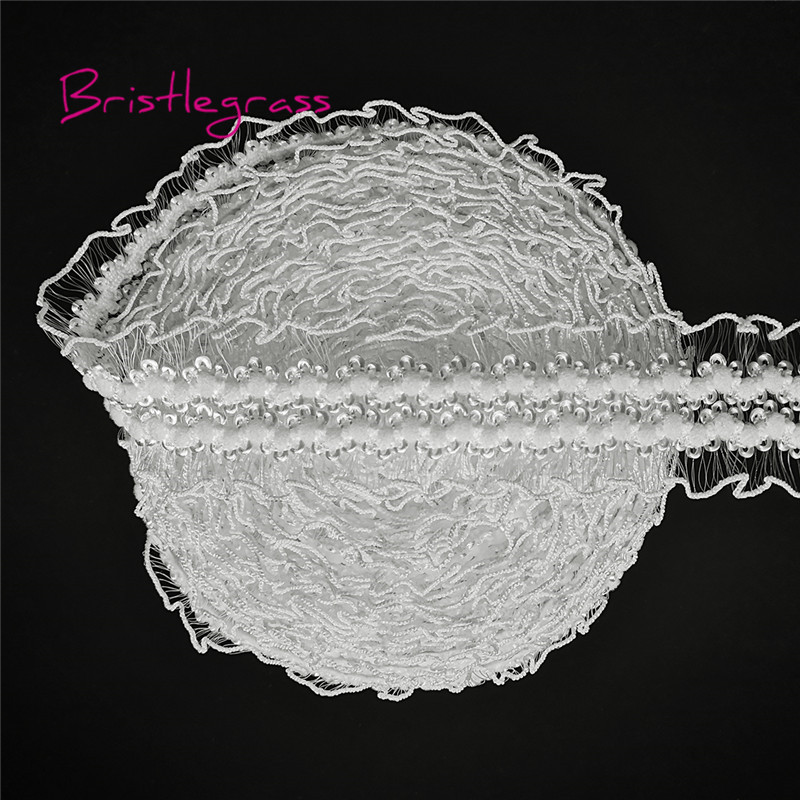 BRISTLEGRASS 5 Yard 30mm White Mesh Frilly Ruffled Spandex Lace Trim Elastic Bands Kid Hairband Headband Tie Dress Sewing Crafts