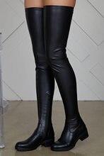 Cuisse Haute Bottes Femmes Hiver En Cuir Pu Confortable Chaussures À Talons Bas Femmes Au-dessus Du Genou Bottes Imperméables Dames Grande Taille 43