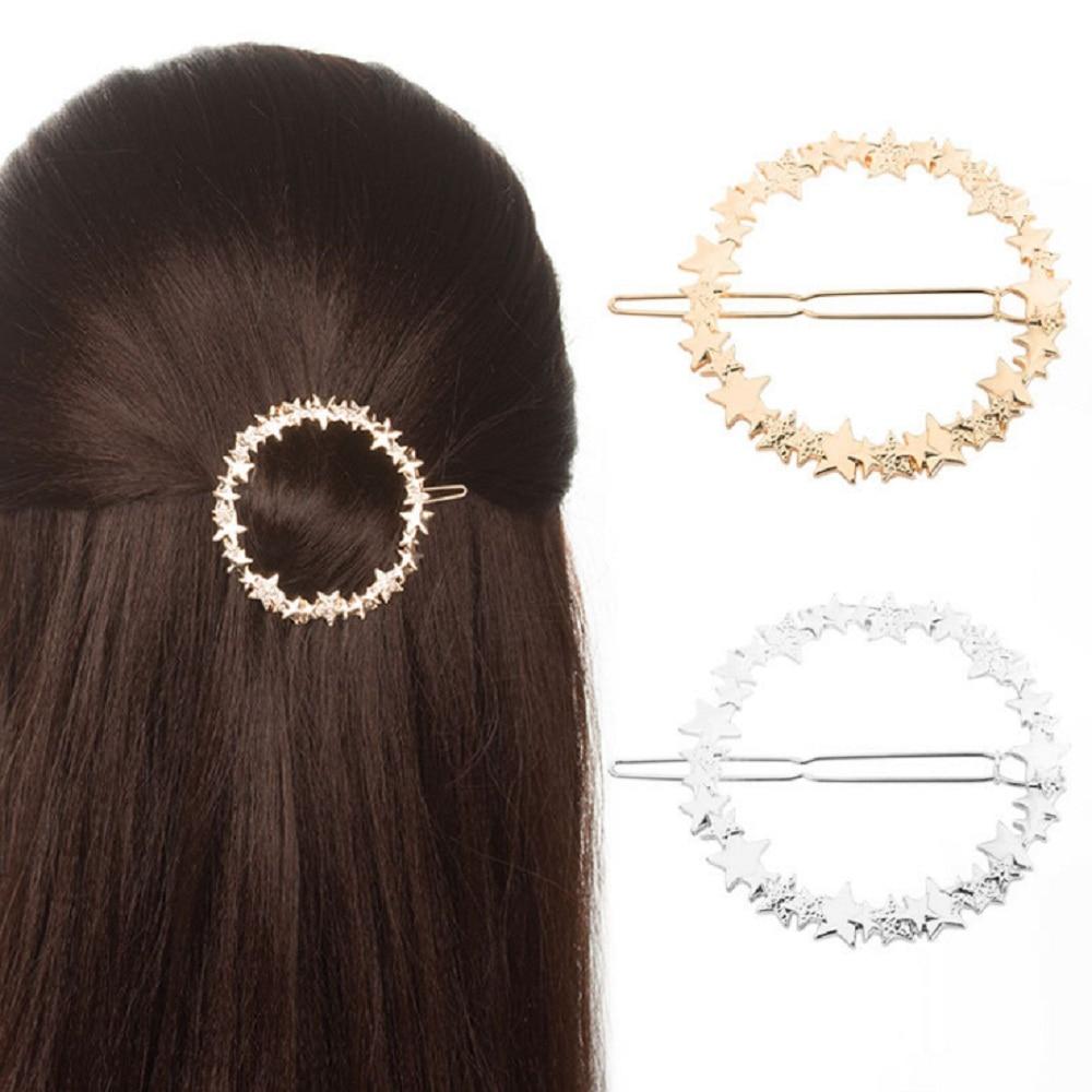 Fashion Hollow Metal Hairpin Geometry Star Ring Hair Clip Women Girls Hair Pin Jewelry Hair Accessories