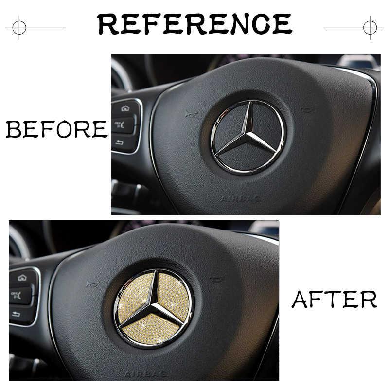 Para Mercedes Benz Accesorios GLA Clase X156 AMG Bling Adhesivo Partes interiores Decoraciones Ajuste Ajuste Cristal Brillante Calcomanías doradas Adhesivo Mujeres Hombres Volante Botón del asiento de la CA Perilla Bot