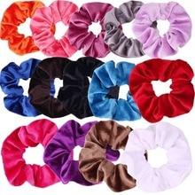 40 Colors Velvet Scrunchie Elastic Hair Rubber Bands For Women Girls Hair Accessories Ponytail Holder Hair Hoop Ring Headwear цена