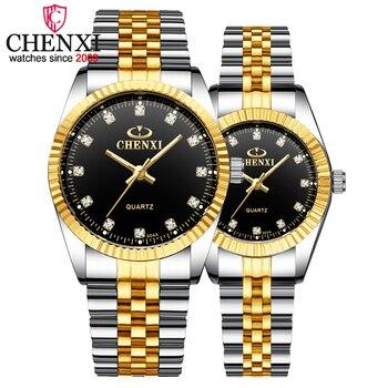 Relojes de cuarzo para parejas y amantes de la marca superior de CHENXI para hombre, relojes de regalo de San Valentín para mujer, relojes de pulsera impermeables de 30m para mujer