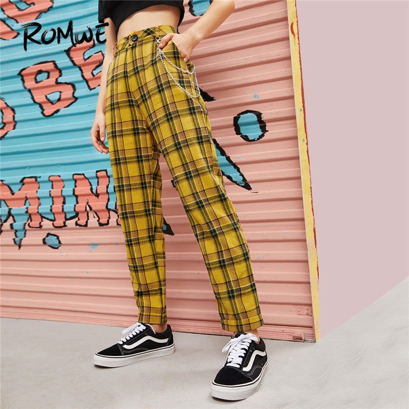 ROMWE Chain Detail Tartan Straight Plaid Pants Fall 2019 Clothes Preppy High Waist Pants Trousers Women Autumn Yellow Pants