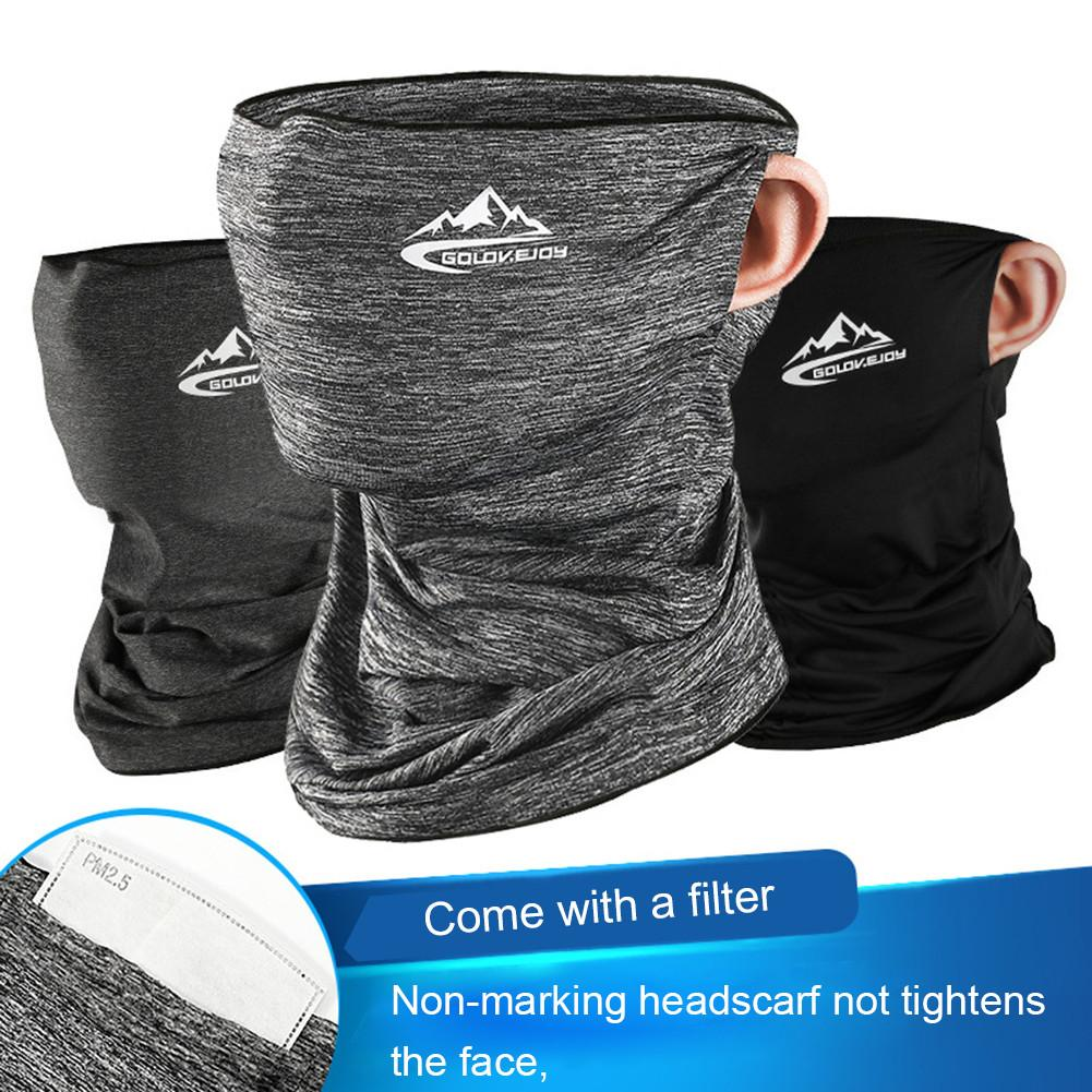 1PCS Ice Silk Sunscreen Scarf Soft Breathable Neck Gaiter With Filter Magic Turban Windproof Multi-functional Riding Headscarf