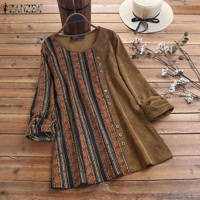 ZANZEA Women Vintage Floral Printed Long Sleeve Tops Autumn Corduroy Blouse Casual Pacthwork Blusas Femininas Shirts Chemise 7