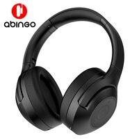 Abingo bt30nc cancelamento de ruído ativo fones de ouvido sem fio com mircofone estéreo baixo bluetooth fones sobre a orelha