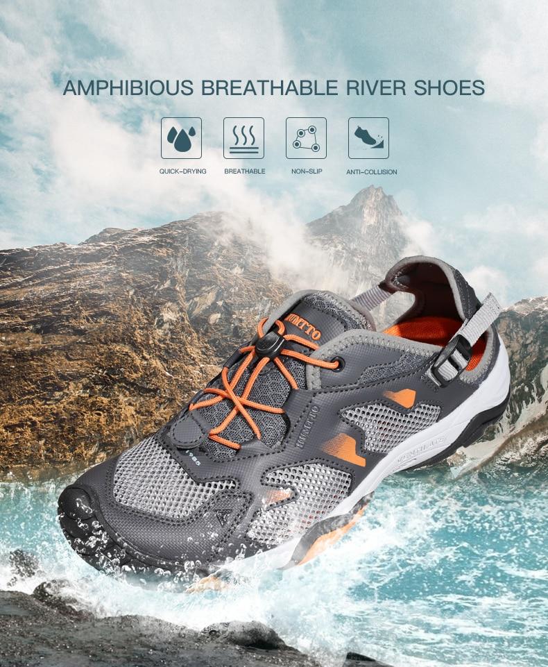 homens do aqua sapatos respirável caminhadas pesca