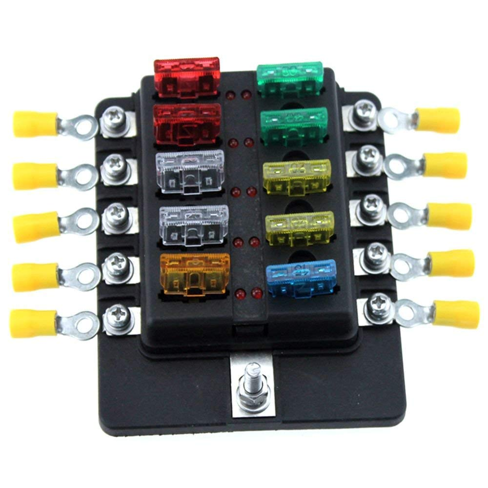 [ANLQ_8698]  10 Way Circuit LED Fuse Blade Fuse Block For Car Truck Boat RV LED  Indicator Fuses Box With Terminals Wiring Kits|Fuses| - AliExpress | Truck Fuse Box |  | www.aliexpress.com